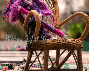 Whimsical wiccan art doll Purple Willow