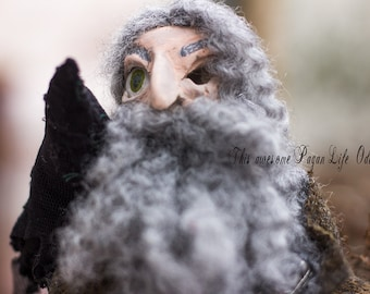 Odin and his Ravens from the Norse Mythology art doll whimsical nature style