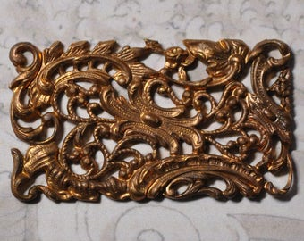 Vintage French Filigree Bracelet Link Louis Quinze XV Gold Toned Thick Raw Brass Stamping 1 Piece 375J