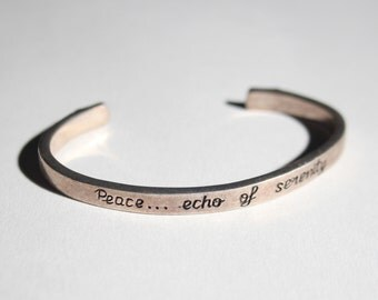 Peace.. the Echo of Serenity Vintage Sterling Silver Cuff Bracelet 2722
