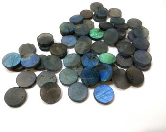 Full Flash LABRADORITE One Sided Polished Round Disks 12 mm diameter Round/ Flat Slices /Flat Disc/, Super Quality gems for Jewellery