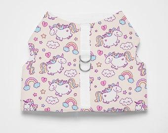 Unicorn Patterned Dog/Cat Harness-Cute Unicorn Patterned Textile Dog/Cat Harness-Vest Dog/Cat Harness-Soft Textile Dog/Cat Harness