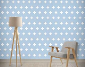 45 colors Swiss Cross Wallpaper, self adhesive Wallpaper, Geometric Wallpaper, minimalist scandinavian Modern Wallpaper, nursery wallpaper