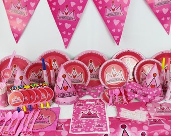 Pink princess birthday party supplies tableware set