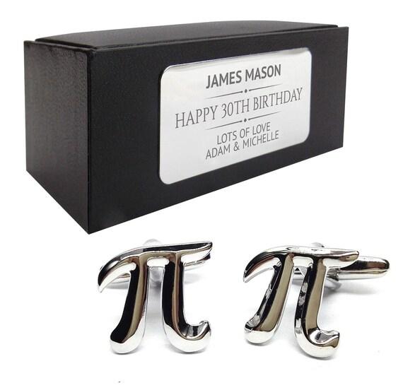 Maths Teacher Pi Symbol Cufflinks 30th 40th 50th 60th 70th Birthday Gift Presentation Box Personalised Engraved Plate 014
