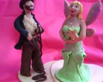 SALE - Unique, Quirky, Individual Wedding Cake Topper - Made to Order to customers specification - Your ideas - my creativity.