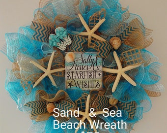 "Beach Wreath, ""Salty Kisses Starfish Wishes"", Starfish, Flip Flops, Blue, Tan Burlap Mesh, Sea Shells, Chevron Ribbon"