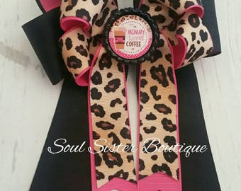 Mommy Loves Coffee 4 loop tails down hair bow ponytail cheetah