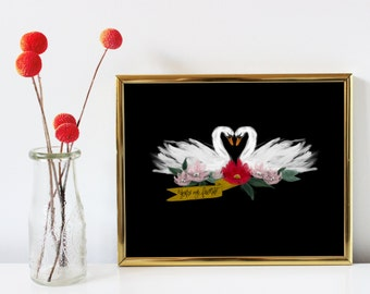 """REDUCED PRICE, You're My Favorite, Gift, Wall Art, Home Decor, Sentimental Gift for Her, Swans, Digital Wall Art Print, 8x10"""""""