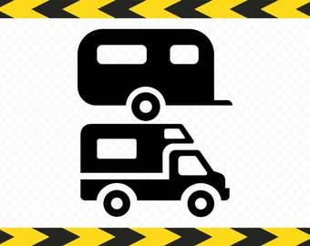 Camper SVG Clipart Decal Travel trailer decor Caravan Cricut Silhouette DXF PDF Png files