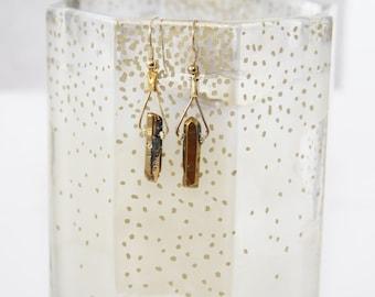 Gold Aura Crystal Earrings