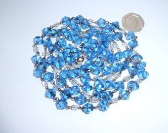 Vintage Art Deco Long Blue Crystal Necklace
