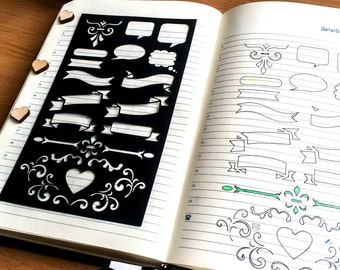 bullet journal stencil, planner stencil, pochoir bullet journal, journal stencils, bullet journal accessories, hobonichi stencil,stencil a5