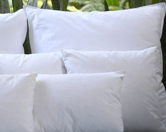 Down Pillow Inserts - 10/90- Multiple Sizes Available - Natural Cotton Down-Proof Cover
