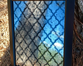 "8x10 Antiqued Mirror in Black Frame with ""Moroccan"" Pattern"