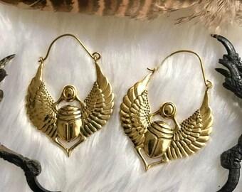 Egyptian Scarab, Earrings ,Antiqued Brass, Scarab Earrings, Scarab Dangle, Egyptian Earrings ,Exotic Beetle, Earrings ,Boho, Brass Earrings
