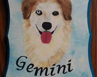 Painted dog plaque