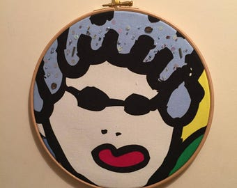 Queens face embroidery wall hanging