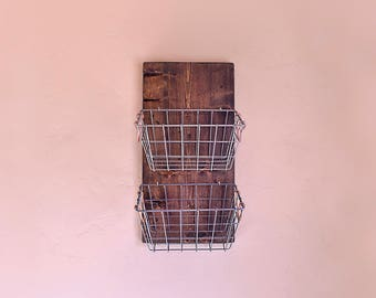 Hanging Barnwood Baskets \ Produce Basket \ Farm House Baskets \ Barn wood and wire basket \ Diaper Basket