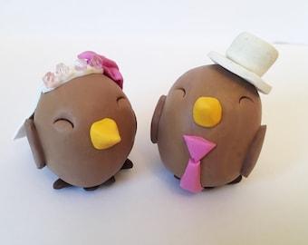 Bride and Groom Bird Wedding Cake Topper- custom made