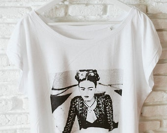 ON SALE - Frida Kahlo top, organic cotton top, Boho-Hippie top, Trendy top for summertime