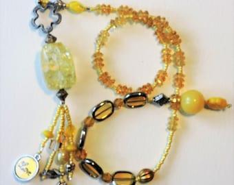 Yellow Crystal Baha'i Prayer Beads