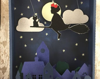 Picture, Kiki and Jiji flying in the sky. Children's lamp. Glows in the dark.