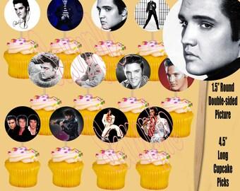 Elvis Cupcake Picks, One Dozen 12 pcs, Cake Topper party favor decoration, King or Rock and Roll, Legendary
