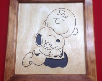 Snoopy and Charlie Brown Wooden Portrait