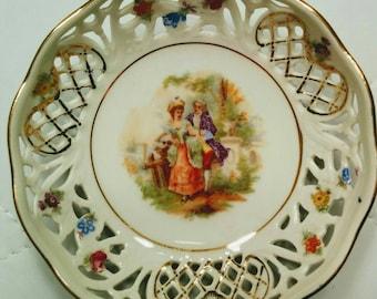 Antique Schumann Floral Cutwork Candy Dish
