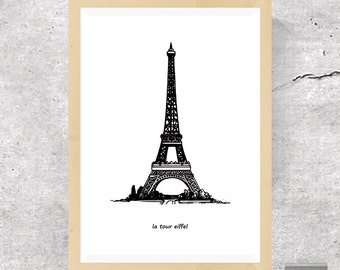 Eiffel Tower Print, Paris Wall Decor, Eiffel Tower Minimalist , Paris Travel Poster, Black and White Print, Modern Art, Printable Download