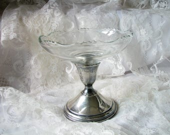 Candy dish Sterling dish Fruit dish Footed dish Sterling Weighted BI Glass dish Wedding decor Bridal shower Table centerpiece Compote dish