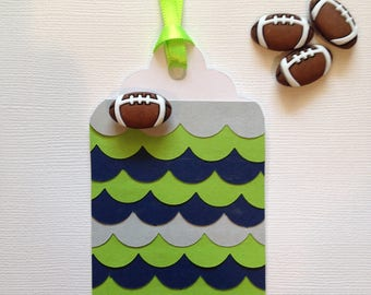 Seahawk football color gift tag/party favor tags