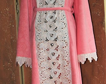 Long Peachy Pink Robe with Lace Insert.
