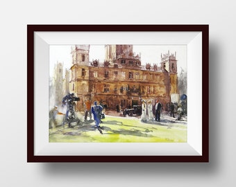 Downton Abbey, Highclere Castle, Watercolor Castle, Downton Abbey Print, Downton Abbey Gift