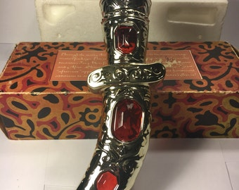 """Vintage Retro Avon Dagger in Box & Packing Ruby Red Glass Gold Silver Decanter WindJammer Aftershave Lotion Full Bottle approx. 10"""" long"""