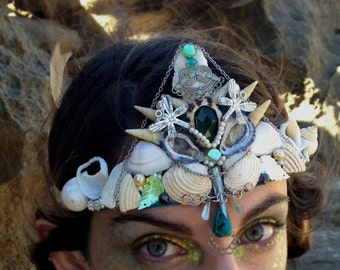Mermaid Crown in Teal and Cream