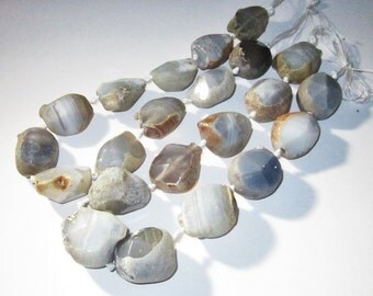 Chunky Agate Nugget Bead Strand average 1 1/4 to 1 1/2 inches each, 16 Inch Strand with 11 beads on each, Only 2 available.
