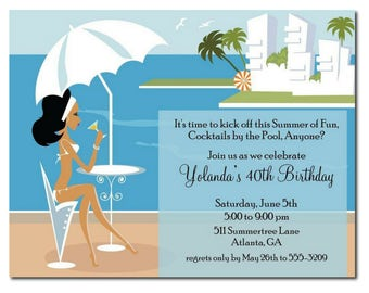 African American Party Invitation | African American Pool Party Invitation | Summer Party | Beach Party | Island Party | Birthday Party