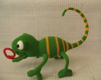 Chameleon Crocheted chameleon Green chameleon Knitted toy chameleon