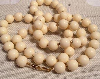Marvella? Cream Lucite?Beaded Necklace
