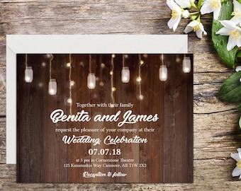 Rustic Wedding Invitation, Country Wedding, Rustic Invitations, Printable Wedding, Invitation template, Wedding invitation, DIY wedding