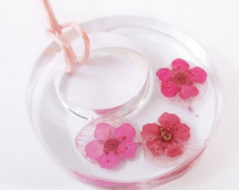 Livia creole resin flowered jewelry ring pendant necklace nature in colorful dried flowers