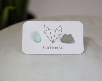 Raindrop and Cloud Stud Earrings - Handmade Polymer Clay