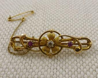 Antique Diamond & Ruby flower Brooch - edwardian gold brooch, 9ct gold brooches, vintage jewellery, diamond brooch, vintage gold