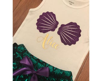 Little Mermaid Inspired Bodysuit, Seashells Tee, Purple Shells T-Shirt NB+