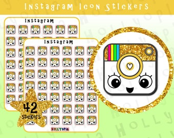 42 Instagram Icon Planner Stickers, Social Media, Perfect for your Happy Planner, Erin Condren, Filofax, etc, UK