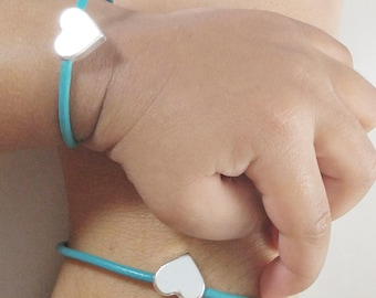Mommy and Me Heart Bracelet- Teal