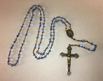 Light blue glass Rosary Beads