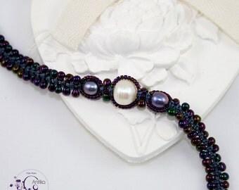 Dark purple drops bracelet, freshwater pearls, vintage/Bracelet drops dark purple, freshwater pearls, vintage